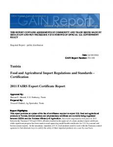 2011 FAIRS Export Certificate Report Food and Agricultural ...