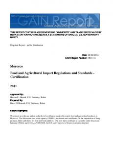 2011 Food and Agricultural Import Regulations and ...