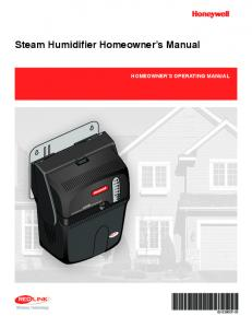 69-2286EF-05 - Steam Humidifier Homeowner's Manual - Air Quality