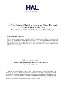 A Prime Number Based Approach for Closed Frequent Itemset ... - Hal