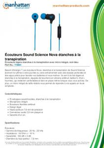 Écouteurs Sound Science Nova étanches à la ... - Manhattan Products