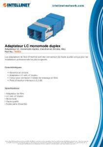 Adaptateur LC monomode duplex - Intellinet Network