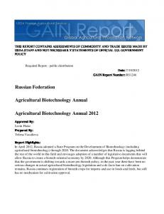 Agricultural Biotechnology Annual 2012 ... - USDA GAIN reports