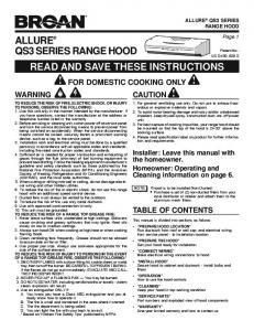 allure® qs3 series range hood read and save these instructions