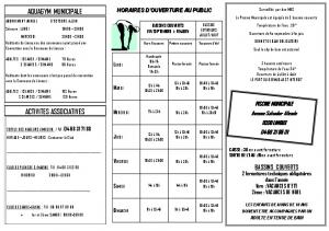 AQUAGYM MUNICIPALE ACTIVITES ASSOCIATIVES