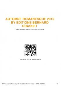 automne romanesque 2015 by editions bernard grasset