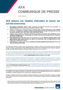 AXA annonce son intention d'introduire en bourse ses ... - axa-contento