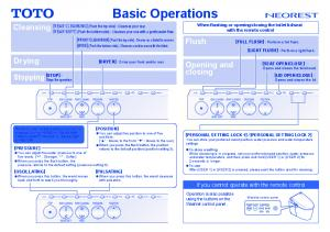 Basic Operations - Toto USA