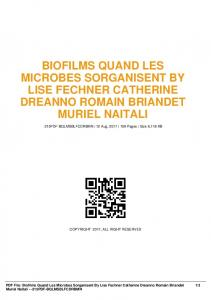 biofilms quand les microbes sorganisent by lise ...  AWS