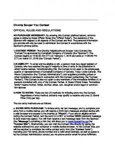 Chunky Souper You Contest OFFICIAL RULES AND