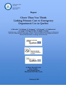 Closer Than You Think: Linking Primary Care to Emergency ... - AIIUQ