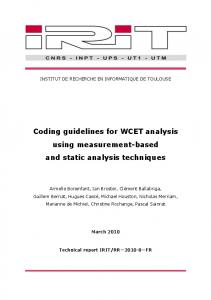 Coding guidelines for WCET analysis using ... - Semantic Scholar