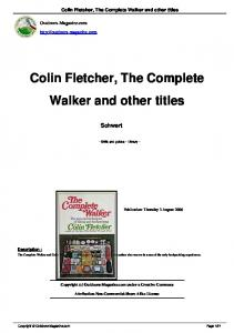 Colin Fletcher, The Complete Walker and other titles - Old Jimbo's Site