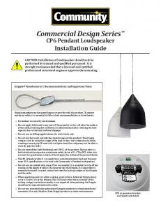 Commercial Design Series™ CP6 Pendant ... - Sound Productions