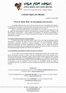 COMMUNIQUE DE PRESSE Visa For Music 2016 : les inscriptions ...