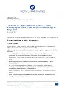 COMP meeting report on the review of applications for orphan