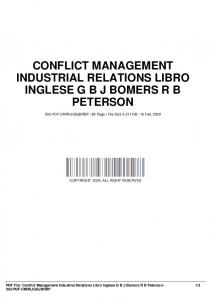 conflict management industrial relations libro inglese g b j bomers r b peterson dbid 15v62