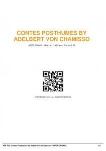 contes posthumes by adelbert von chamisso -85pdf ...  AWS