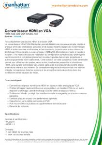 Convertisseur HDMI en VGA - Manhattan Products