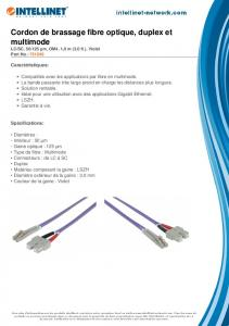 Cordon de brassage fibre optique, duplex et ... - Intellinet Network