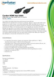 Cordon HDMI haut débit - Manhattan Products