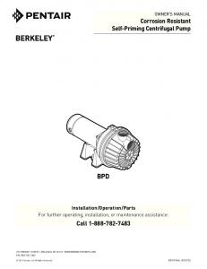 Corrosion Resistant Self-Priming Centrifugal Pump ... - Berkeley Pumps