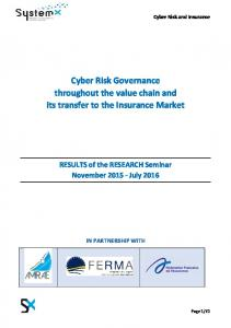 Cyber Risk Governance throughout the value chain and ... - IRT SystemX