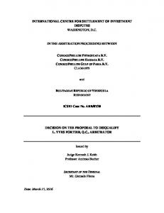 Decision on the Proposal for Disqualification of Arbitrator L ... - italaw