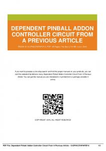 dependent pinball addon controller circuit from a previous article dbid s