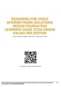 designing for cisco internetwork solutions desgn foundation learning guide ccda desgn 640 864 3rd edition dbid if433