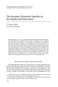 Developing a Research Agenda on the Media and Education