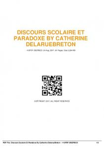 discours scolaire et paradoxe by catherine ...  AWS