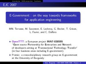 E-Government : on the way towards frameworks for ... - Le2i - CNRS