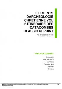 elements darcheologie chretienne vol 2 itineraire des catacombes