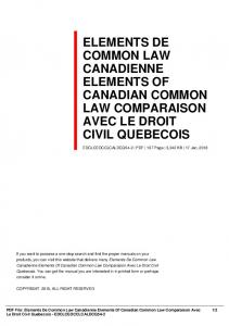 elements de common law canadienne elements of ...  AWS