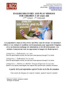 ENGLISH DISCOVERY AND PLAY SESSIONS FOR ... - lingo canada