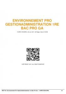 environnement pro gestionadministration 1re bac pro ga