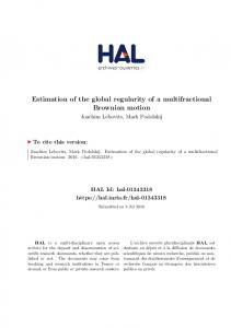 Estimation of the global regularity of a multifractional Brownian ... - Hal