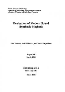Evaluation of Modern Sound Synthesis Methods
