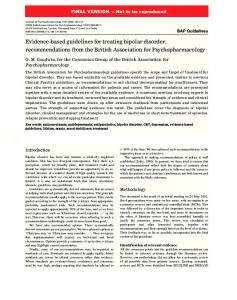 Evidence-based guidelines for treating bipolar disorder - Cercle d ...