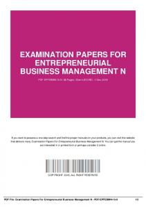 examination papers for entrepreneurial business management n dbid 10ac