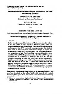 Extended Statistical Learning as an account for slow ... - (DDL), Lyon
