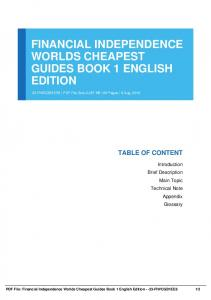 financial independence worlds cheapest guides book 1 english edition dbid 17f8