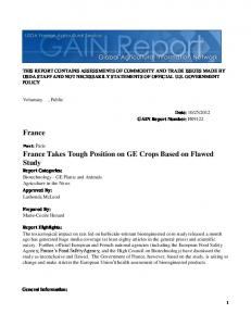 France Takes Tough Position on GE Crops ... - USDA GAIN reports