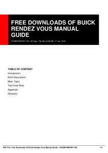 free downloads of buick rendez vous manual guide ...  AWS