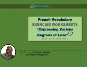 """French Vocabulary EXERCISE WORKSHEETS """"Expressing Various"""