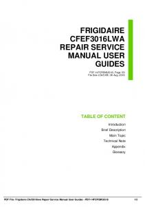 frigidaire cfef3016lwa repair service manual user guides dbid xhqn