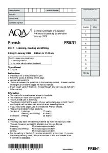 GCE French Unit 1 - Listening, Reading and Writing Question Paper ...