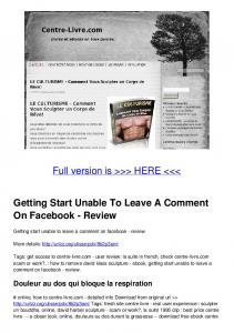 Getting Start Unable To Leave A Comment On