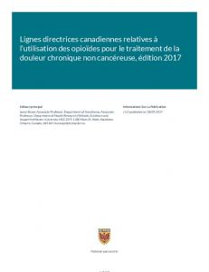 Guideline Lignes directrices canadiennes relatives à l